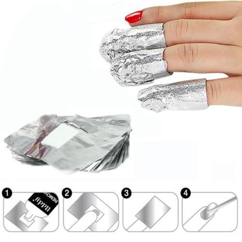 100Pcs/Lot Aluminium Foil Nail Art Soak Off Acrylic Gel Polish Nail Removal Wraps Remover Makeup Tool(China (Mainland))