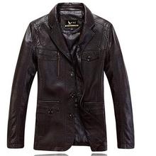 2016 Autumn, Winter new listing men leather jacket turndown collar leisure business men leather coat M ~ XXXL Free shipping(China (Mainland))