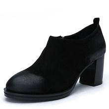 VALLU 2018 Yüksek Topuk Ayakkabı Kadın Çizmeler Yuvarlak Ayak Vintage El Yapımı Doğal Çocuk Süet Blok Tıknaz Topuklu Bayanlar yarım çizmeler(China)