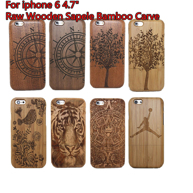A++++ Quality 100% Raw Wood Wooden Bamboo Carving Hard case back cover iphone 6 6g 4.7 inch Retail package - ShenZhen TOP ONE Mariah Technology co., LTD store