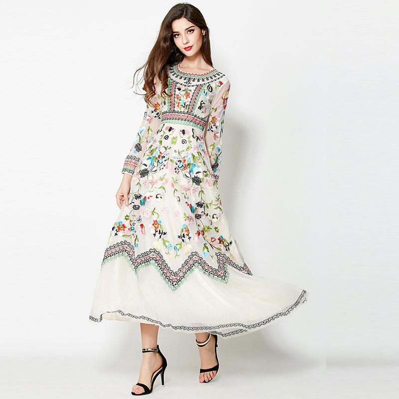 Trend lace maxi long dress summer antumn boutique