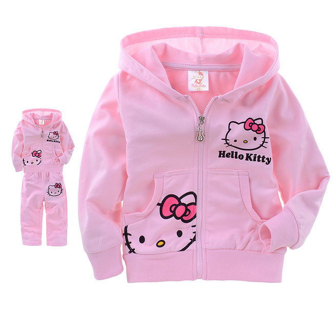 Pink Kitty CARDS Printed Suit Cotton Children's Letters Loop and Pants(China (Mainland))
