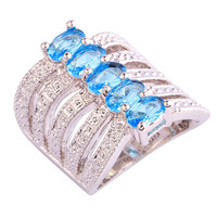 New Saucy Attractable Blue Topaz 925 Silver Ring Oval Cut Size 6 Wholesale Free Shipping For