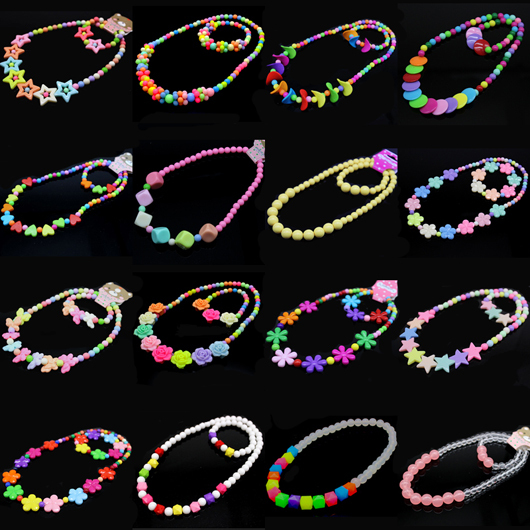 2015 Summer Handmade Girl Beads Jewelry Set African Children Flower Necklace Products Gift Collocation Baby Bracelet Wholesale(China (Mainland))