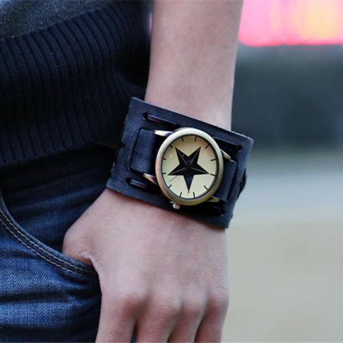 Великие люди женщин ретро-панк большой широкий кожаный браслет браслет манжеты часы унисекс матч