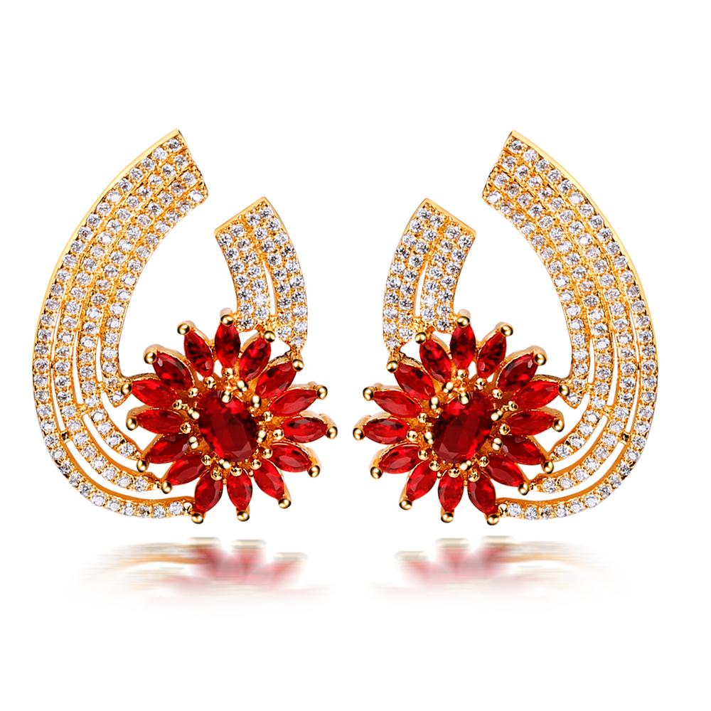 Luxury Drop Earring Red Stone Big Drop Fashion Earring ,zircon Gold Plated  Silver Pins Womens