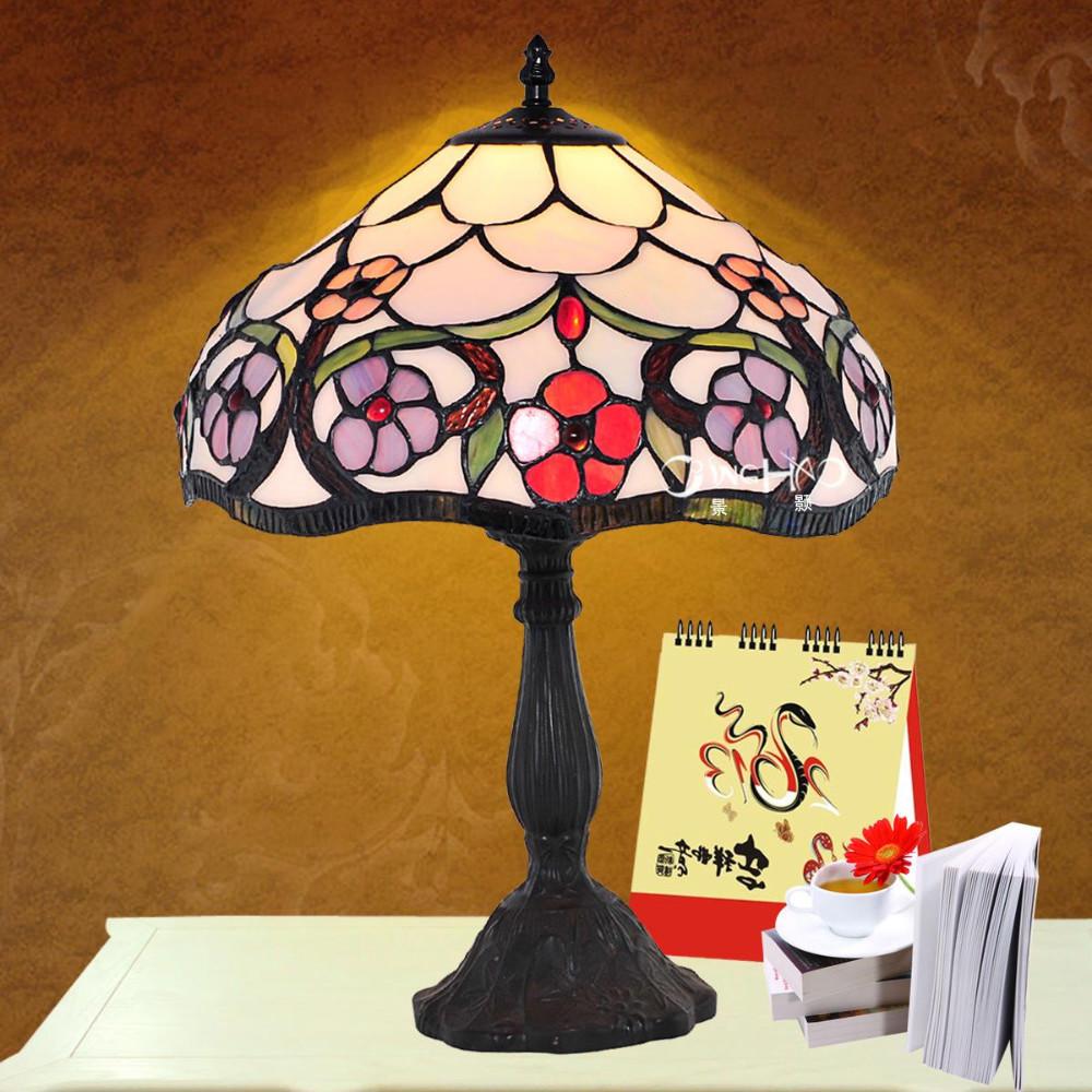 Three sizes Tiffany glass desk lamps, T161017 Energy saving E27 bulb base, fashion tiffany lamps multi-color lampshades - SIYUAN TECHNOLOGY CO. LED store
