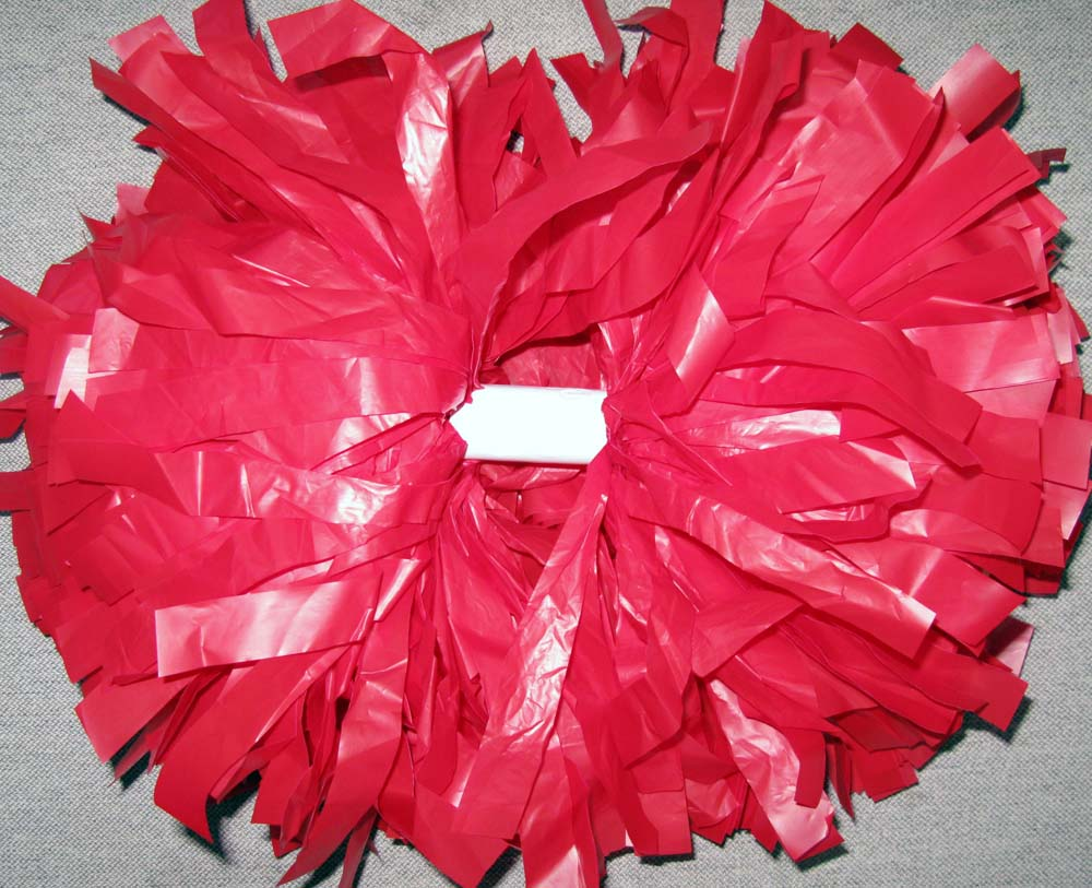 plastic red cheerleading pom pom(China (Mainland))