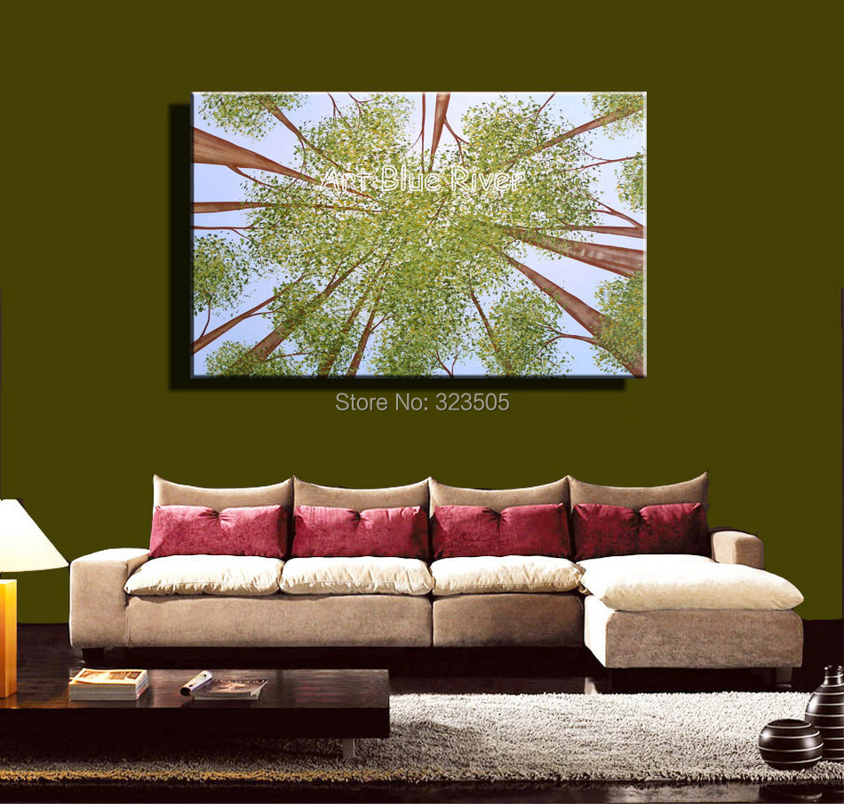 big size green tree cheap handmade abstract modern wall art canvas oil painting on canvas. Black Bedroom Furniture Sets. Home Design Ideas