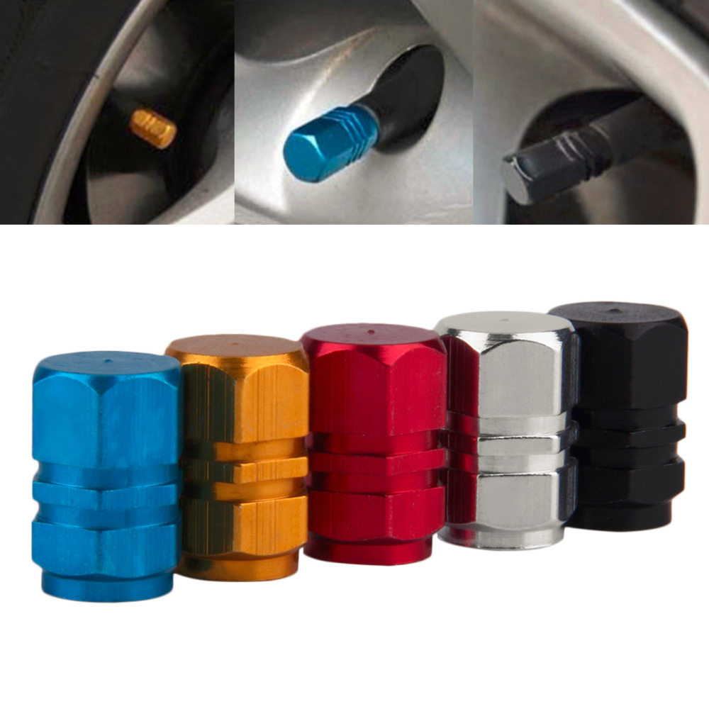 Universal 4 PCS Aluminum Auto Bicycle Car Tire Valve Caps Tyre Wheel Hexagonal Ventile Air Stems Cover Airtight rims Accessories(China (Mainland))