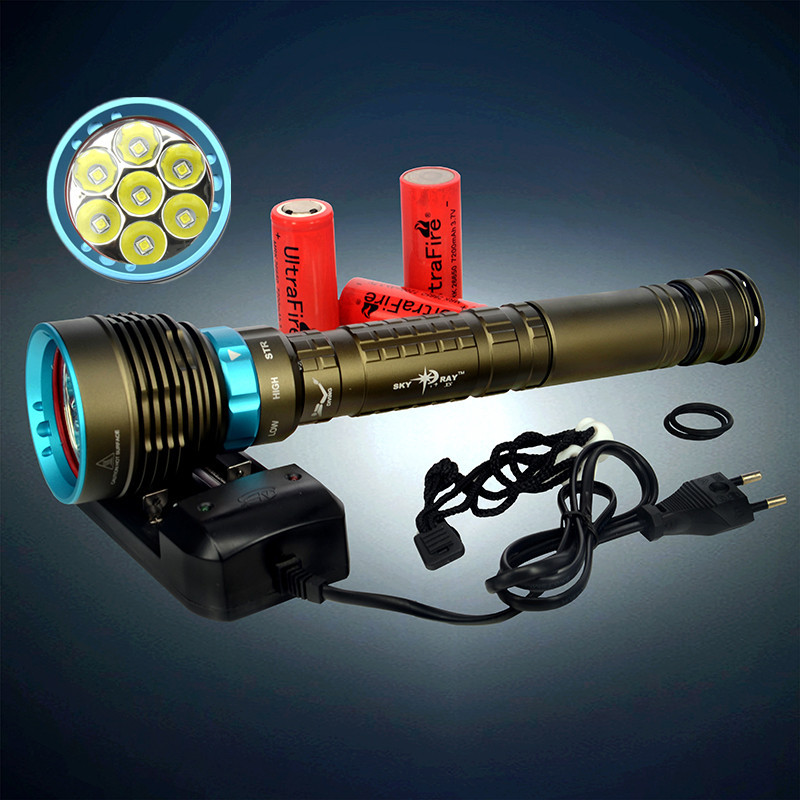 New SKYRAY 10000Lm Scuba Diving 150M 7x XM-L L2 LED Flashlight Torch 7L2 Lanterna+ Charger+3x Rechargeable 26650 Battery(China (Mainland))