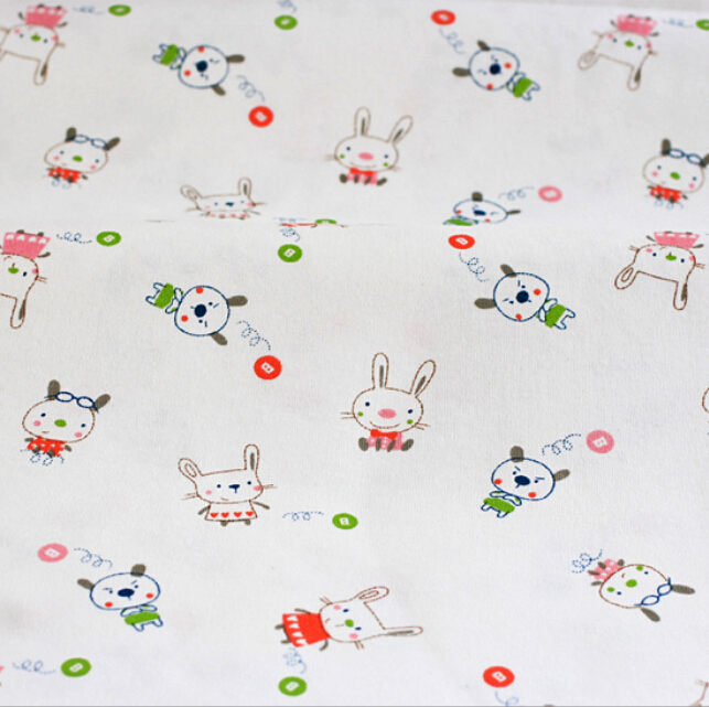 160x50cm1pc 100% Organic Cotton Knitted Fabric Cotton Jersey Fabric Kitty Cat Printed Fabric Sewing Material DIY Baby Clothing(China (Mainland))