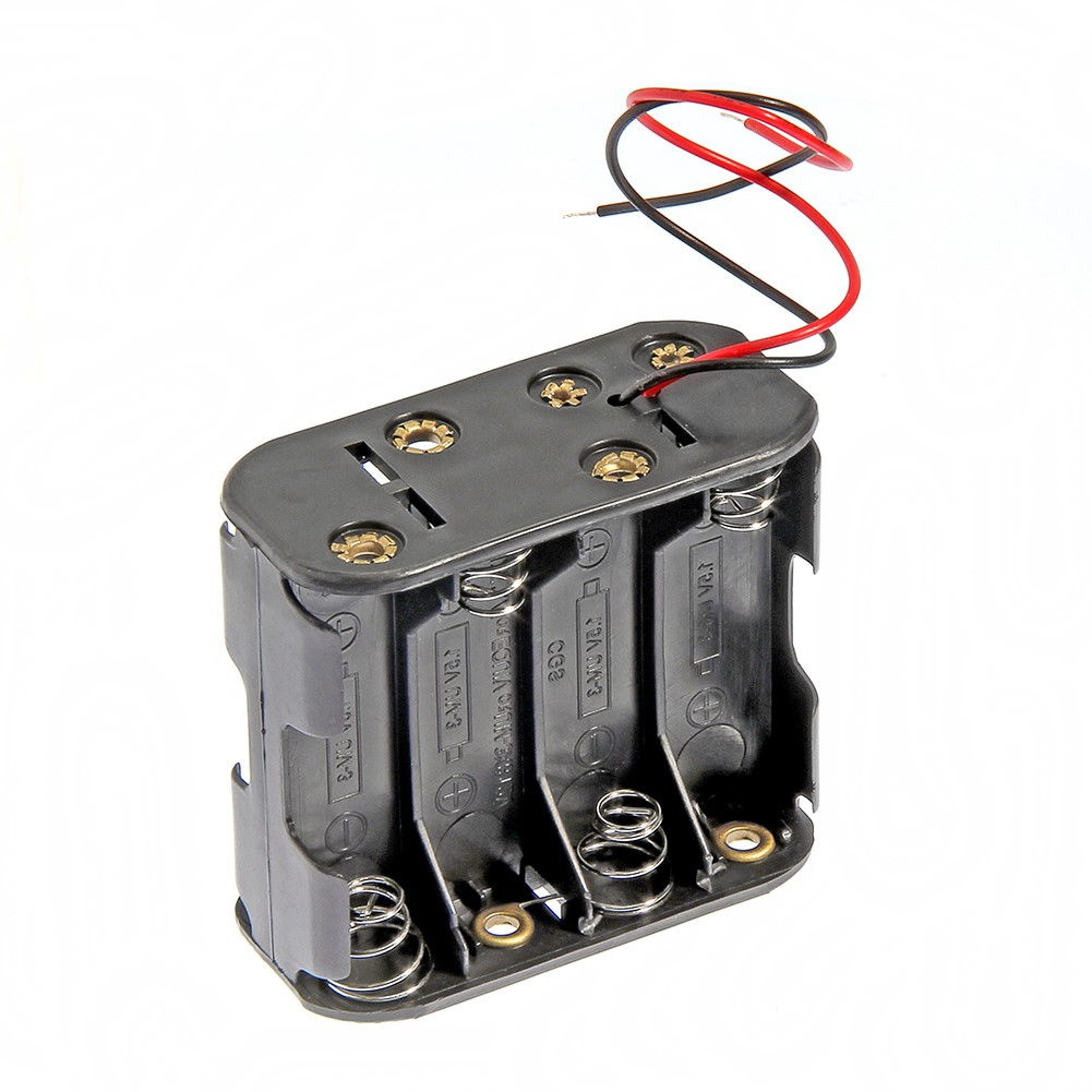Plastic 12 Volt 12V Battery Clip Slot Storage Holder Box Case 8 AA 2A Batteries Stack 6 Leads Wire(China (Mainland))