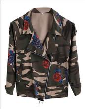 2016 New Fashion Vintage Army Green Camouflage Jacket Long Sleeve Denim Jackets Zipper Flower Print Coats Spring Clothing W241