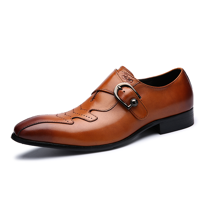 Pointed Toe Men Oxfords Shoes Breathable Men Leather Shoes Black Brown