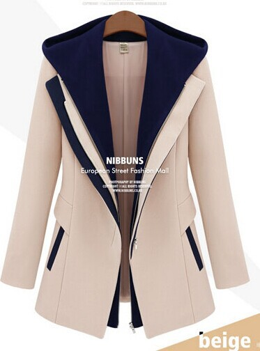 2016 Foreign female small spring and autumn in Europe and America the new leave two hooded jacket mosaic color suit XL 3XL4XL