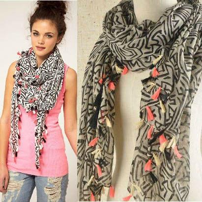 2016 новые весна осень женщины геометрическая большой размер шарф платок неон полосатый большой платок оптовая продажа 80546