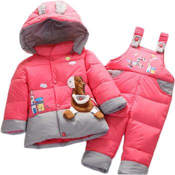 Детская зимняя теплая верхняя одежда для мальчиков и девочек & пуховые куртки и комбинезоны в розницу для детей, детские комплекты одежды, детская пуховая куртка & парка, Походит для 6-24 месяцев