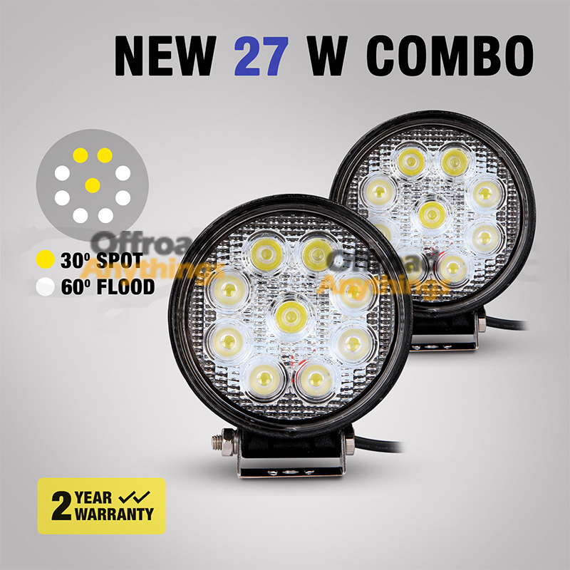 4 inch 27W LED Work Light Lamp 4x4 Offroad Driving Tractor Motorcycle Road Headlight External - Anythings store