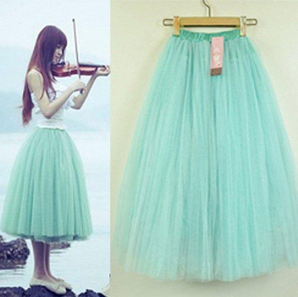 Women's Stylish 5 Layers Tutu Petticoat Knee-Length Length Long Skirt(China (Mainland))