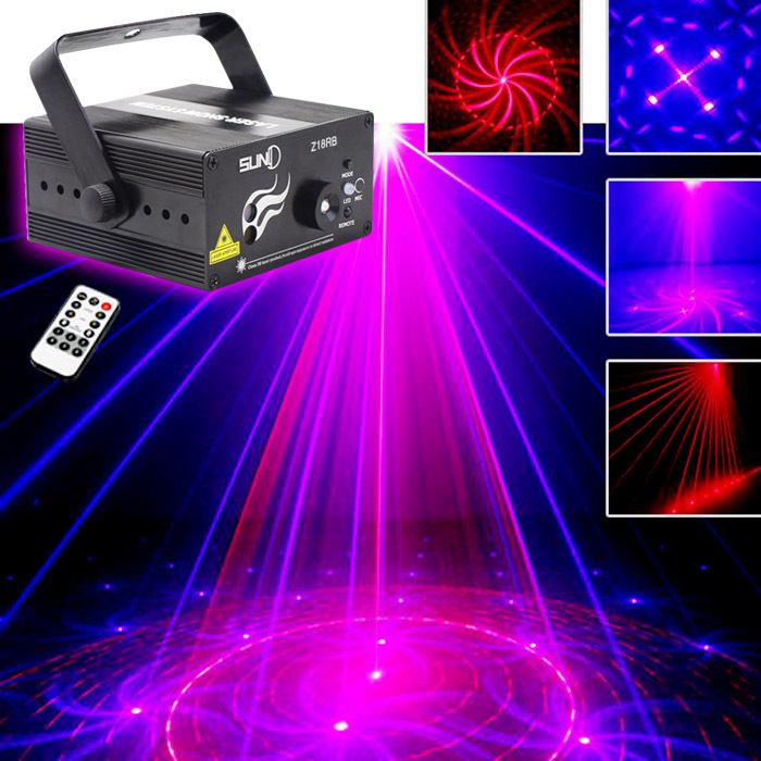 SUNY 3 Lens 18 Patterns Club Bar RB Laser BLUE LED Stage Lighting Xmas Home Party 300mw show Professional Projector Light Disco - suny Official Store store