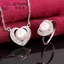 fashion jewellery love heart pearl jewelry necklace set women 925 sterling silver pearls set bijoux joyas oso(China (Mainland))