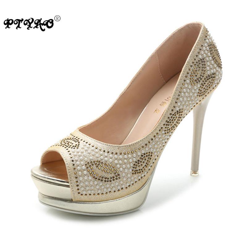 Womens Platform Shoes Summer 2016 Peep Toe Breathable Peal Rhinestone Women Pumps Thin High Heels Wedding Shoes Bridal(China (Mainland))