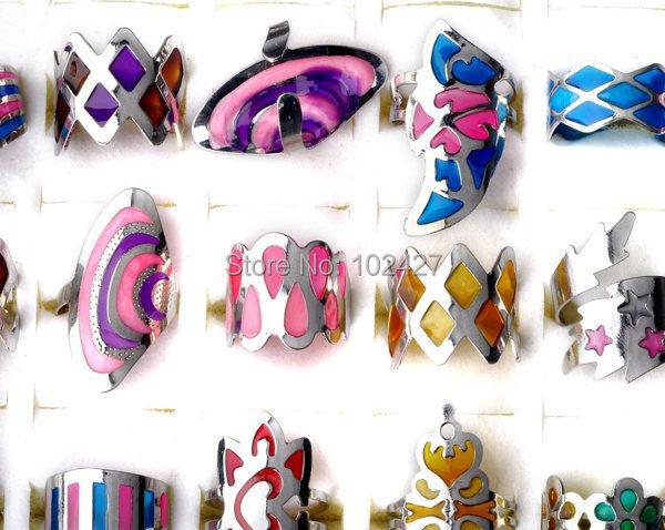 Jewelry Lots 1Mix Style Retro Fashion Multicolor Enamel Alloy Adjustable Rings Women Men - mixlot (no min order store)