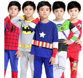 New Autumn Children Home Wear Captain America Spiderman Costumes 100 Cotton Top Pants Pajamas For 2