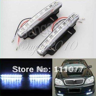 2X Car 8 LED DRL Driving Daytime Running Day LED Light Head Lamp Super White New Day Light LED Car(China (Mainland))