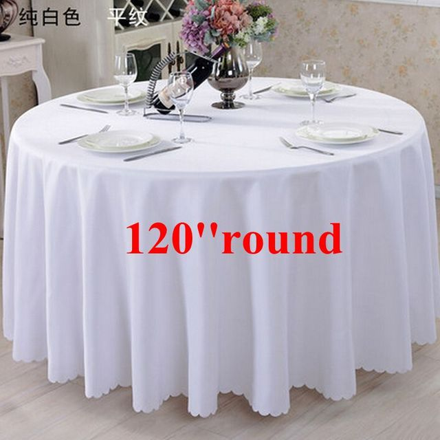 Free shipping 10pcs white 120 39 39 100 polyester round table for 120 round table cover