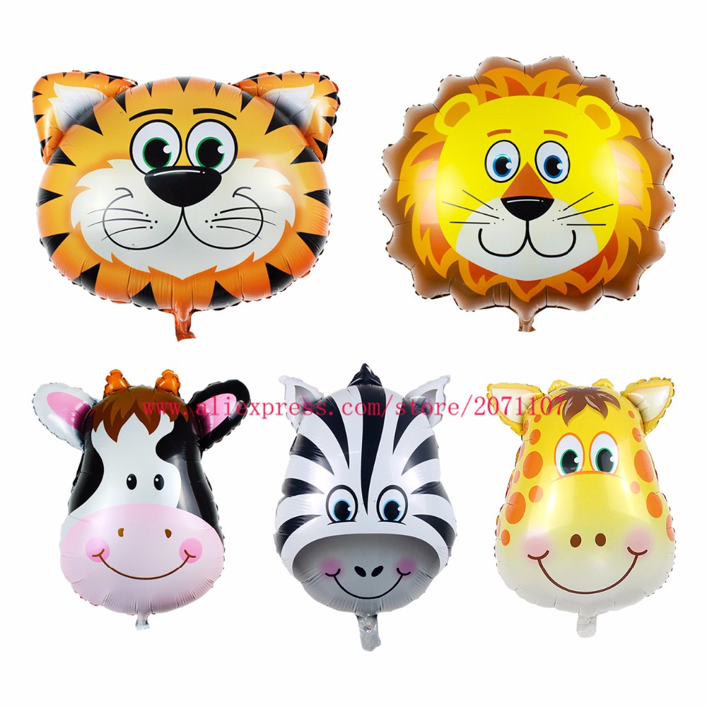 Lucky Large Size Animal Balloon Tiger & Lion & Monkey & Zebra & Deer & Cow Head Helium Foil Air Balloons Birthday Theme Party(China (Mainland))