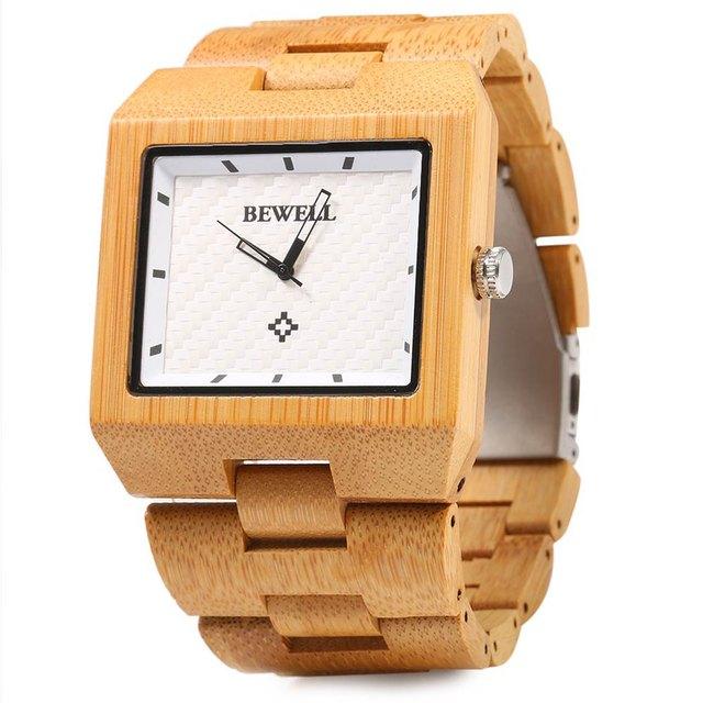 Zegarek męski BEWELL prostokątny drewno bambusowe kolory