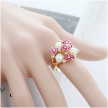 SI Real 18K Gold Plated Big Wedding Rings Vintage Austrian Crystal Engagement Rings For Woman Fashion