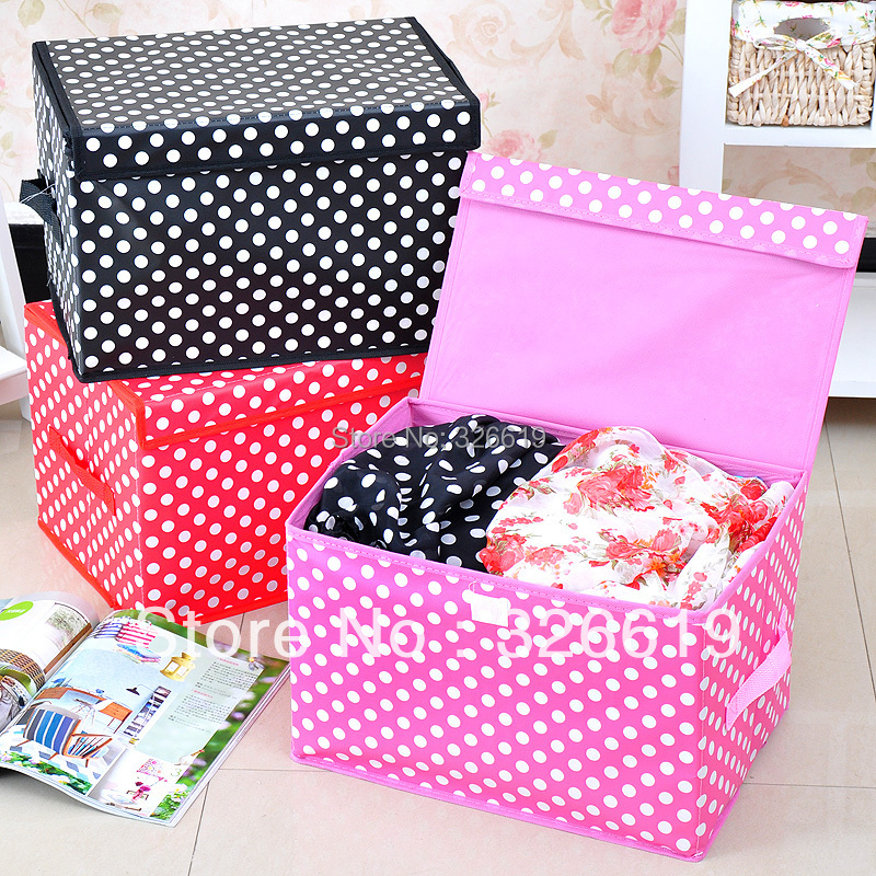 Free shipping storage boxes and bins for clothing non-woven fabric made folding Waterproof membrane dot with lid storage box(China (Mainland))
