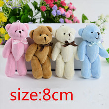 4Piece 8cm Kawaii Small Teddy Bears Plush Soft Toys Stuffed Animals Ted Dolls for Children girlfriend Gifts free shipping