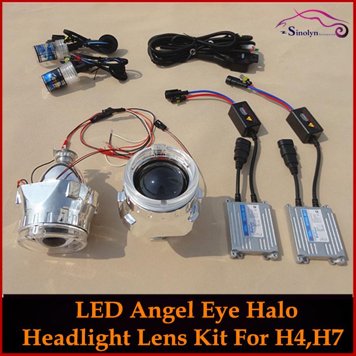 Car Retrofit HID Bi-Xenon Projector Headlight Lens H4 H7+ LED Optic Angel Eyes Ring+ Xenon Lamps+ AC Slim Ballasts+ Wiring