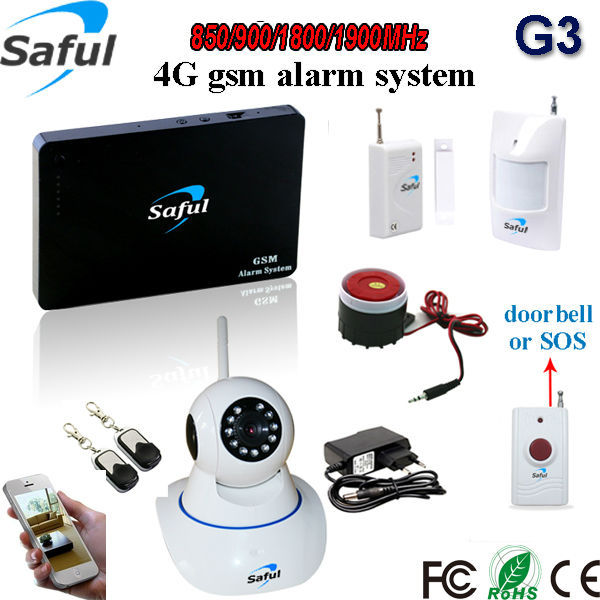 product Free shipping 96 wireless zones+2 wired zones Androi/IOS APP GSM alarm with ip camera / home safety wifi gsm home burglar alarm