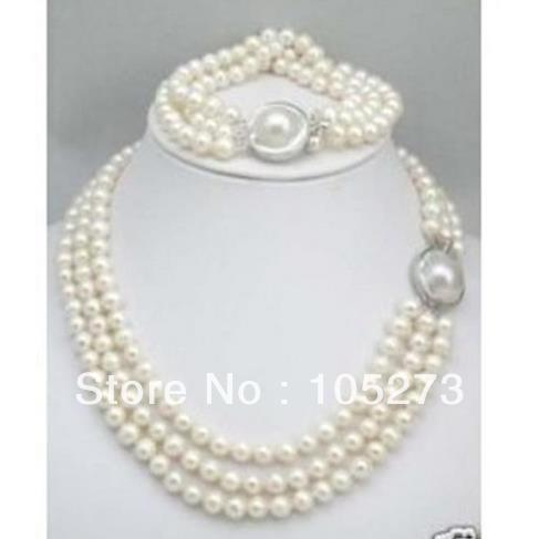 Pearl Jewelry Set . Triple Row White Color 7-8mm Natural Freshwater Pearl Necklace &amp; Bracelet,Bridesmaid Jewelry.Free Shipping.<br><br>Aliexpress