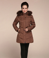 European Winter Latest Ladies Fashion Coat Super Warm Down jacket Pure color Big yards Hooded Thicken