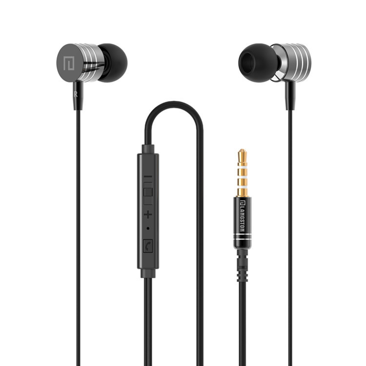 Langsdom Stereo Bass Headset In Ear Metal Earphones handsfree Headphones with Mic 3.5mm Earbuds for All Mobile Phone MP3 MP4