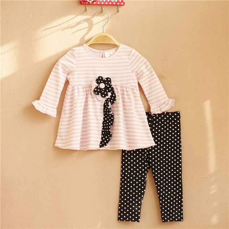 wholesale 6Sets/lot 6M-3T Original Rare Editions Baby Girls Pink Striped Blouse and Dots Pants Fall Outfit,Dress With Flowers<br><br>Aliexpress