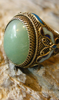 Unique Chinese Sliver gilt filigree bluing embedded Tanglin jade ring jewelry for women for  your collection