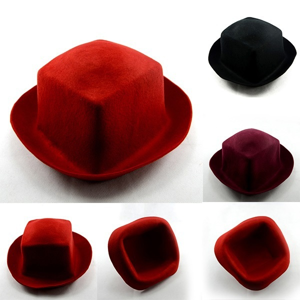 New fashion unisex Wool Fedora hat Vogue solid felt Bowlers for Ladies & gentlemen 3colors wide brim peaked fedora 1pc WH200(China (Mainland))