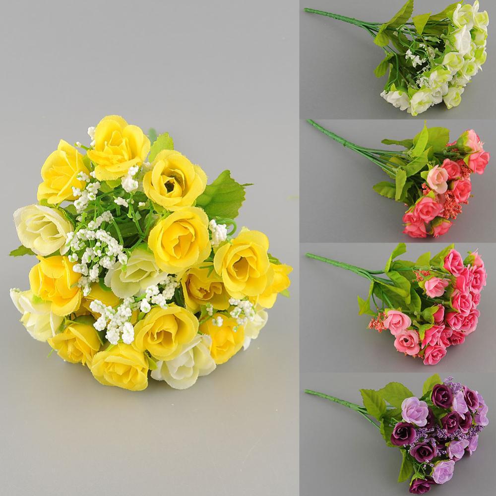 21pcs Artificial Rose Flower Silk Wedding Garden Decor Room Decoration Free Shipping(China (Mainland))