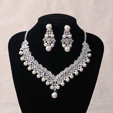 Braut Kristall Perle Kostüm schmuck sets Neue Design Strass Halsband Halskette Ohrringe Tiara Braut Frauen Hochzeit Schmuck Set(China)