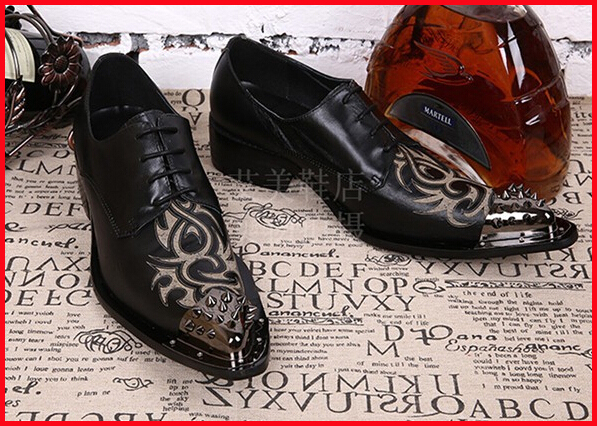 New Dress Shoes Black with Decorative Metal Tips genuine Leather Italian Style Slip On Party Wedding Shoes Size 46 US12<br><br>Aliexpress