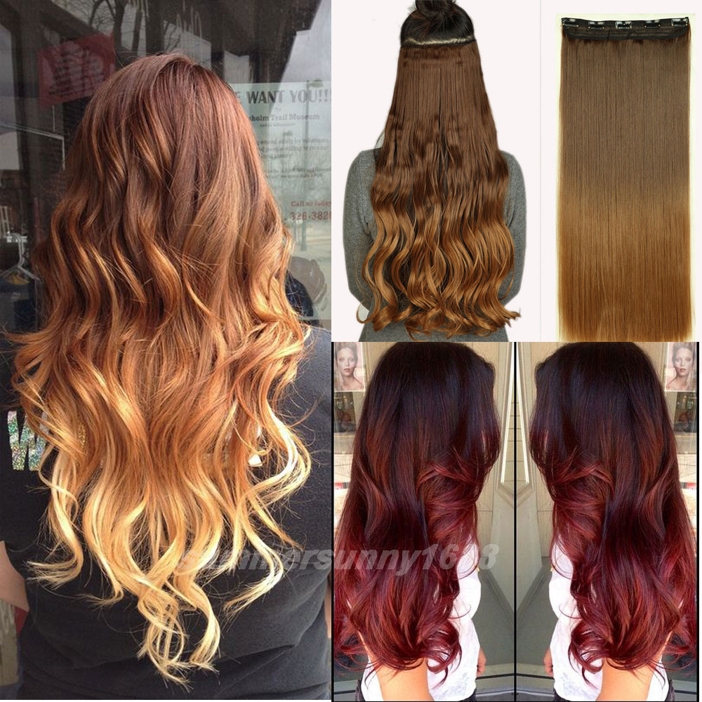 Dip Dye Clip In Human Hair Extensions Remy Indian Hair