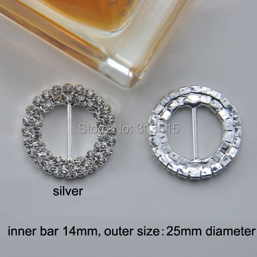 (M0173) 100pcs  14mm inner bar,outer diameter:25mm Round Crystal Rhinestone Ribbon Buckle in Sliver for wedding