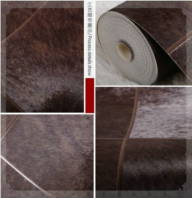 Texture Design By Otters Skin Wallpaper Roll/ Living Rome TV Background Wall/Glossy Vinyl Backdrops/Wall papers Black Decoration(China (Mainland))